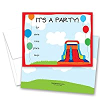 24 Bounce House Fill-in Kids Birthday Party Invitations [並行輸入品]