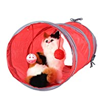 SOROS ポータブル 折りたたみ式 ペット 猫 子猫 遊びトンネル ベル付き 屋内 屋外 猫/ウサギ訓練玩具 (レッド)