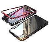 iPhone X ケース iphoneXS カバー アルミ バンパー 背面ガラス アイフォン X 透明 強化ガラス バックプレートマグネット式 磁力で接続 QI ワイヤレス 充電対応 軽量 薄型 スマホケース 擦り傷防止 耐衝撃保護(iphone X/XS,赤+黒)