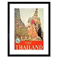 Travel Thailand Woman Decorative Hat Picture Framed Wall Art Print 旅行タイ女性デコ画像壁