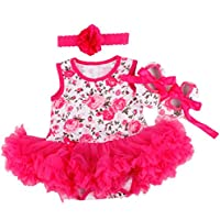 Reborn Baby Doll Clothes Fit for 20-23 Inch Reborn Newborn Girl Dolls Sleeveless Rose Pattern Dress Three-Piece Suit