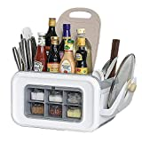 Multi-function Spice Rack Organizer with Seasoning Jar Storage Box for Flatware Cutlery Set, Knife and Cutting Board,Lid stand