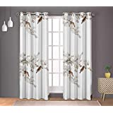 S4sassy Cotton Duck Blossom & Bulbul Bird White Drapes Curtain Door Treatment Panel Set for Living Room- 54x84 Inches