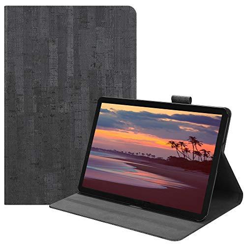 Happon の Samsung Galaxy Tab S4 10.5 inch T835 純正 レザー 財布 シェル カバー, フリップ 立つ, カード スロット, スタイリッシュ, Dark Grey