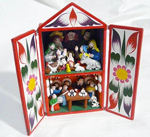 ペルーPeru製カラフルレタブロ/キリストの誕生/馬小屋&フィギアM