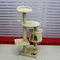 Ludage Pet Pet Supplies 猫 猫 クライミングフレーム 猫 プラットフォーム 猫 木 猫 おもちゃ 睡眠ゲーム ブラウン 6957945939602