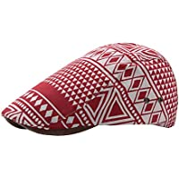 CHENDX High Quality Hat, 2019 Beret Cap Spring Summer Cotton Ladies Men's Geometric Pattern Cap Outdoor Vents Shade Sun Hat Retro (Color : Wine red, Size : 56-58CM)