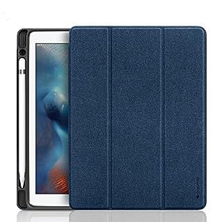 iPad Pro 10.5 ケース Apple Pencil収納 スタンド機能 iVAPO 10.5インチ iPad Pro 保護カバー シンプル 三つ折タイプ 全面保護型 傷つけ防止 iPad Pro10.5手帳型ケース PU 便利なペンホルダー付き New iPad Pro 10.5 Case 全3色 (iPad Pro 10.5, ブルー)