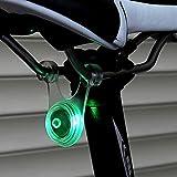 Amazon.co.jpスポーク LED ライト 自転車 サイクル 用 ぶら下げ 式 防水 シリコン テール ランプ 早 点滅 遅 点滅 点灯 の 3 パターン クリーニング クロス セット (2. グリーン 緑)