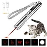 BESROY 猫 おもちゃ ペット用品 LEDポインター USB充電式 ペットおもちゃ 6モード 光源切り替え LEDライト 猫運動不足解消 ペットトレーニング 懐中電灯 ペンライト