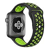 Apple Watch スポーツバンド, Gersymi® スポーツバンド 交換バンド 対応 アップルウォッチ Nike+ / New Apple iWatch Series 2 / Apple Watch Series 1 (42mm, ブラック+グリン)