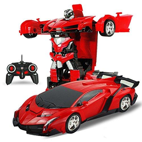 新しいです リモートコントロールカー ロボット おもちゃの車 トランスフォーマーのおもちゃ サイバトロン遠隔操作 (レッド) [並行輸入品]