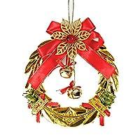 1st market ゴールデン小麦のサークルと1個のクリスマスツリーの装飾プラスチックメッキゴールドベルペンダントクリスマス吊り飾りクリエイティブで便利