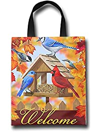 WACRDG Shopping Handle Bags,Home Bird Feeder Personalized Tote Bag