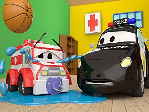 ベビーアンバーが行方不明&滑りやすい道路そして, 消防車とパトカーのカーパトロール|子供向けのカー&トラックアニメ
