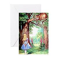 CafePress–アリス&チェシャ猫–グリーティングカード、注意カード、誕生日カード、空白内側光沢