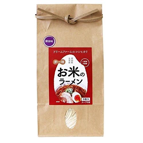 富山県入善町産コシヒカリ100% ドリームファームのもちもち米粉らーめん 130g×3食入 (しょうゆ, 4袋)