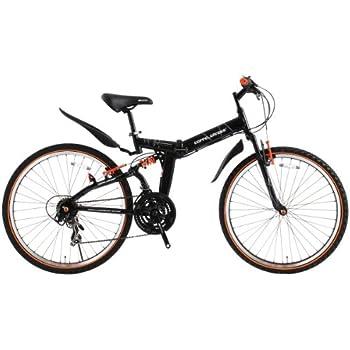 DOPPELGANGER(ドッペルギャンガー) 702 blackguards 26インチ マウンテンバイク 折りたたみ自転車【軽量アルミフレーム】シマノ 21段変速 MTB【前後サスペンション】SGマーク/LEDライト/鍵/泥除け/スタンド付 X-ROUNDシリーズ