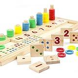 カラフルなパズルの教授ツール - YouMiYaJP子供の木製教育のホット1セットモンテッソーリの数学デジタルマッチングのパズルを教える子供のおもちゃ早期学習贈り物虹ドーナツ教育おもちゃのabacusデジタルデジタルボード就学前の子供のおもちゃ