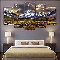 Wuyyii 家の装飾キャンバス絵画写真5パネルツリー雪風景ミニマリズム壁アートプリントモジュラーポスター用リビングルームB-20X35Cmx2/20X45Cmx2/20X55Cmx1