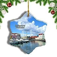 Weekinoブリッジタウンバルバドスクリスマスオーナメントクリスマスツリーペンダントデコレーション旅行お土産コレクション陶器両面デザイン3インチ
