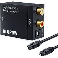 Blupow DACデジタル(光&同軸)→アナログ(RCA) オーディオ変換器 変換コネクター オーディオコンバーター 光デジタル アナログ 変換器 同軸 変換 Digital to Analog Converter 光ファイバーケーブル付き