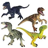 FUNSHOWCASE 恐竜 フィギュア ヴェロキラプトル ジオラマ おもちゃ 模型 4個セット