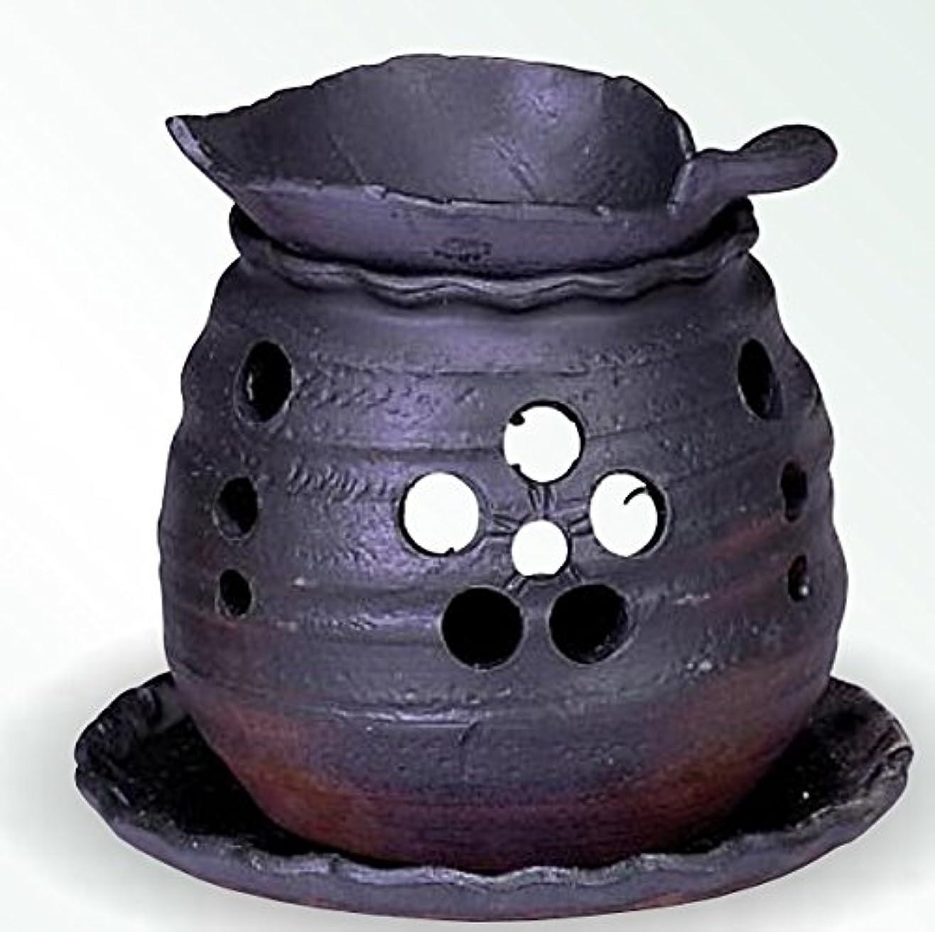 深くレギュラーラベ常滑焼 茶香炉(アロマポット)木ノ葉皿 径10×高さ10.5cm