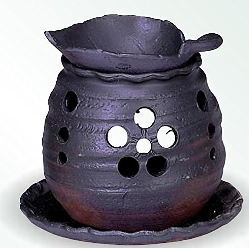 褐色ベルト衣類常滑焼 茶香炉(アロマポット)木ノ葉皿 径10×高さ10.5cm