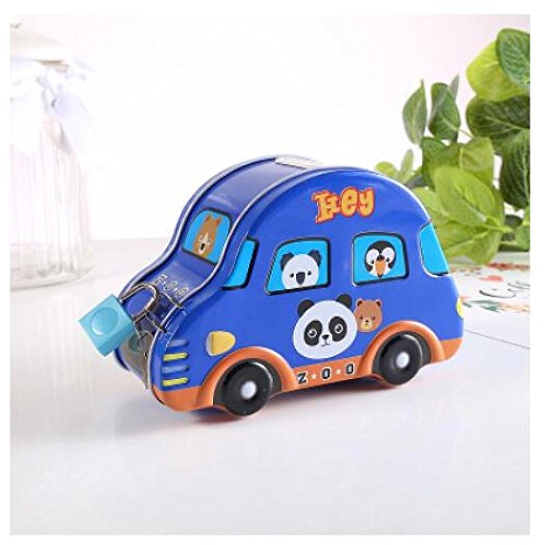 マネー バンク 車のピギーバンク絶妙なTinplateストレージボックス子供の報酬(青)