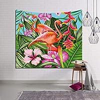 フラミンゴのタペストリー、エキゾチックな植物とフラミンゴのタペストリー熱帯ヤシの葉家の装飾壁投げアート家の装飾 - 寝室のリビングルームの壁掛け (Color : E, Size : 90 x 60 inches)
