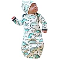 2pc新生児幼児女児Boy Cartoon Dinosaurパジャマガウンおくるみ帽子服装 Bust:62cm/24.4