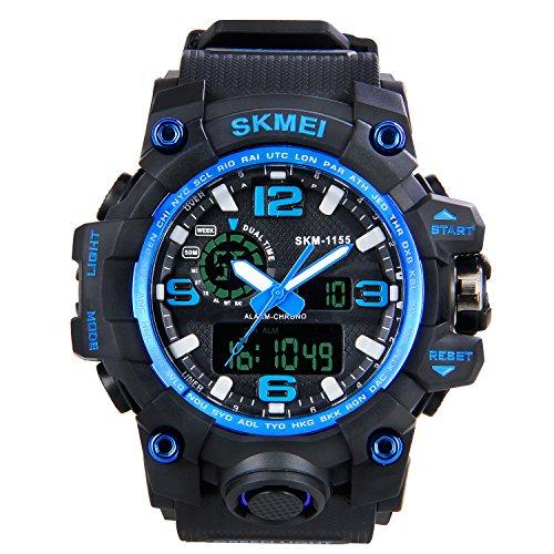 HIWATCH 腕時計 多機能 LED デジタル表示 アナログ表示 アナデジ式 日付曜日表示 夜光 スポーツウォッチ