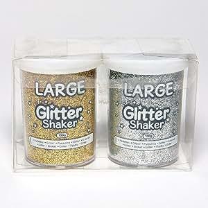 シェイカー入り グリッターパウダー(金、銀)(大2個セット 各100g入り) アートや工作の飾りつけに