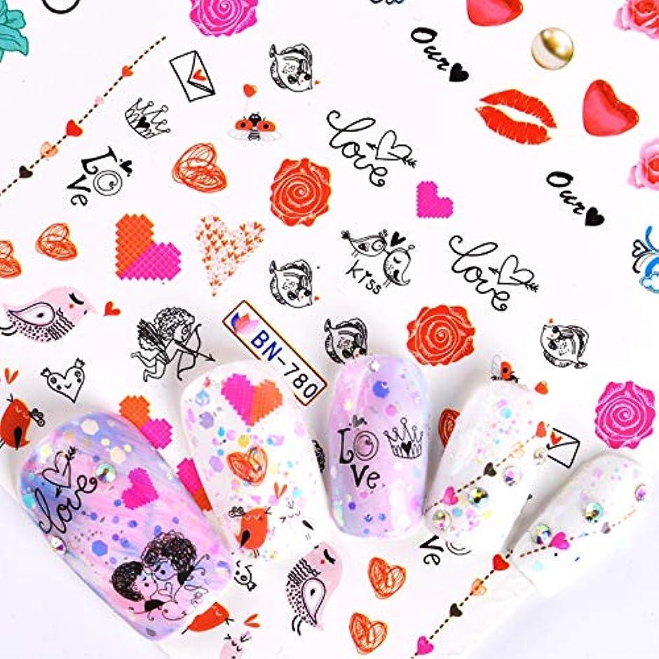 バイソン製品宙返りSUKTI&XIAO ネイルステッカー 12デザインバレンタインロマンチックなローズハートネイルアート水花フローラ転送ステッカーデカールラップマニキュア装飾ツール
