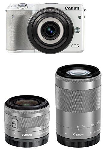 Canon ミラーレス一眼カメラ EOS M3(ホワイト)・クリエイティブマクロ トリプルレンズキット EF-M28mm F3.5 IS STM EF-M15-45mm F3.5-6.3 IS STM EF-M55-200mm F4.5-6.3 IS STM 付属 EOSM3WH-CMTLK