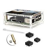 3.5インチタッチスクリーンTFT液晶ディスプレイ(ラズベリーパイ3用保護アクリルケース付き)、2型式B [3xアルミニウムヒートシンク、インストール済みCD付き、タッチペン] …