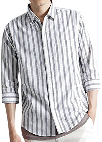 (モノマート) MONO-MART 7分袖 プレミアム 綿麻 リネン シャツ リネンシャツ ストレッチ メンズ ボールドストライプ Mサイズ