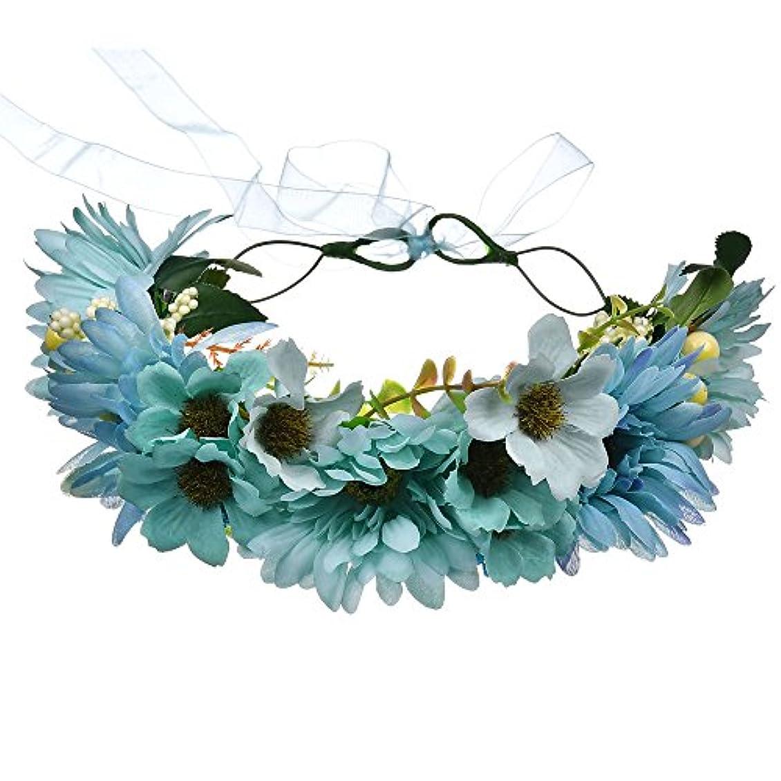 薄暗い自分を引き上げるコーンウォール1st market 自由奔放な菊の花輪ヘッドバンドヘッドバンド絶妙なユリの花ヘッドドレスビーチ写真の装飾女性の花輪ヘッドバンドヘアアクセサリーブルー耐久性と便利