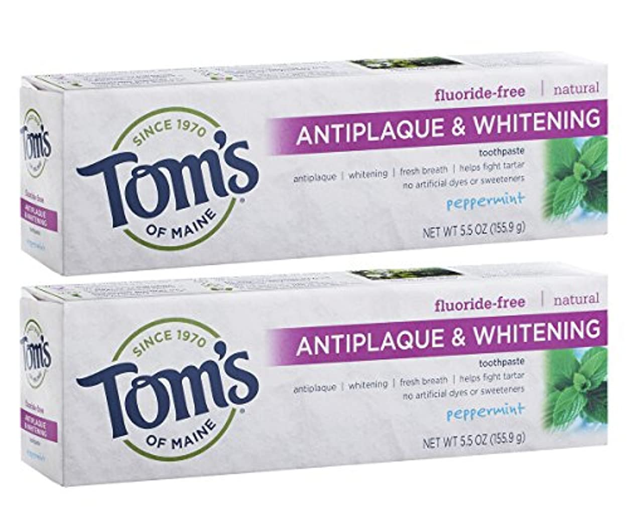災難適切に確かなTom's of Maine Antiplaque And Whitening Fluoride-Free Toothpaste, Peppermint, 5.5-Ounce by Tom's of Maine