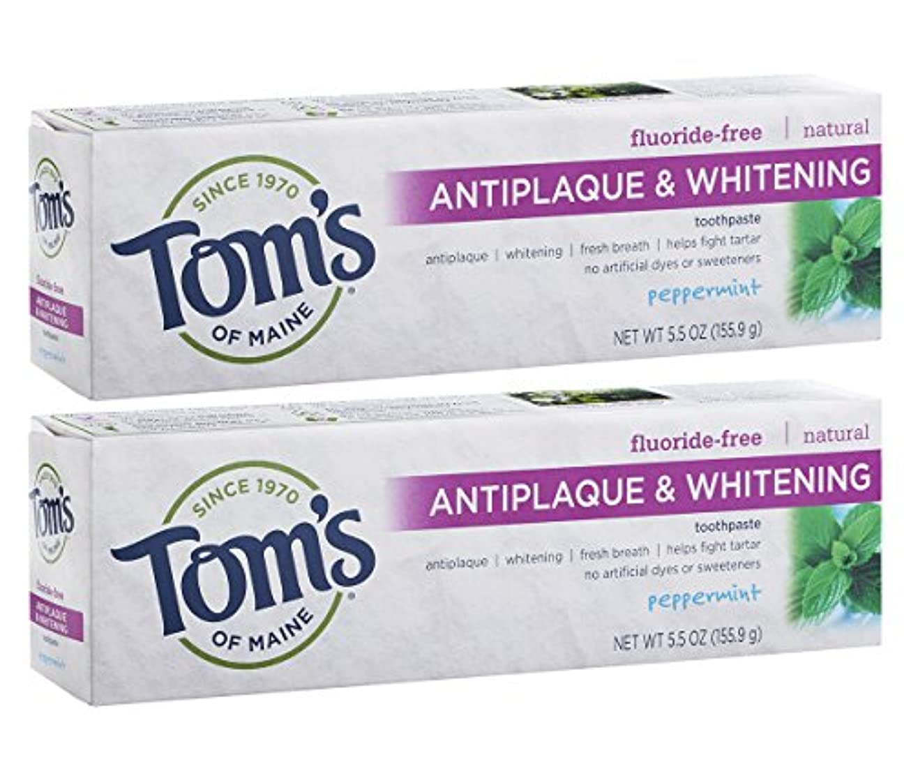 六敵卑しいTom's of Maine Antiplaque And Whitening Fluoride-Free Toothpaste, Peppermint, 5.5-Ounce by Tom's of Maine