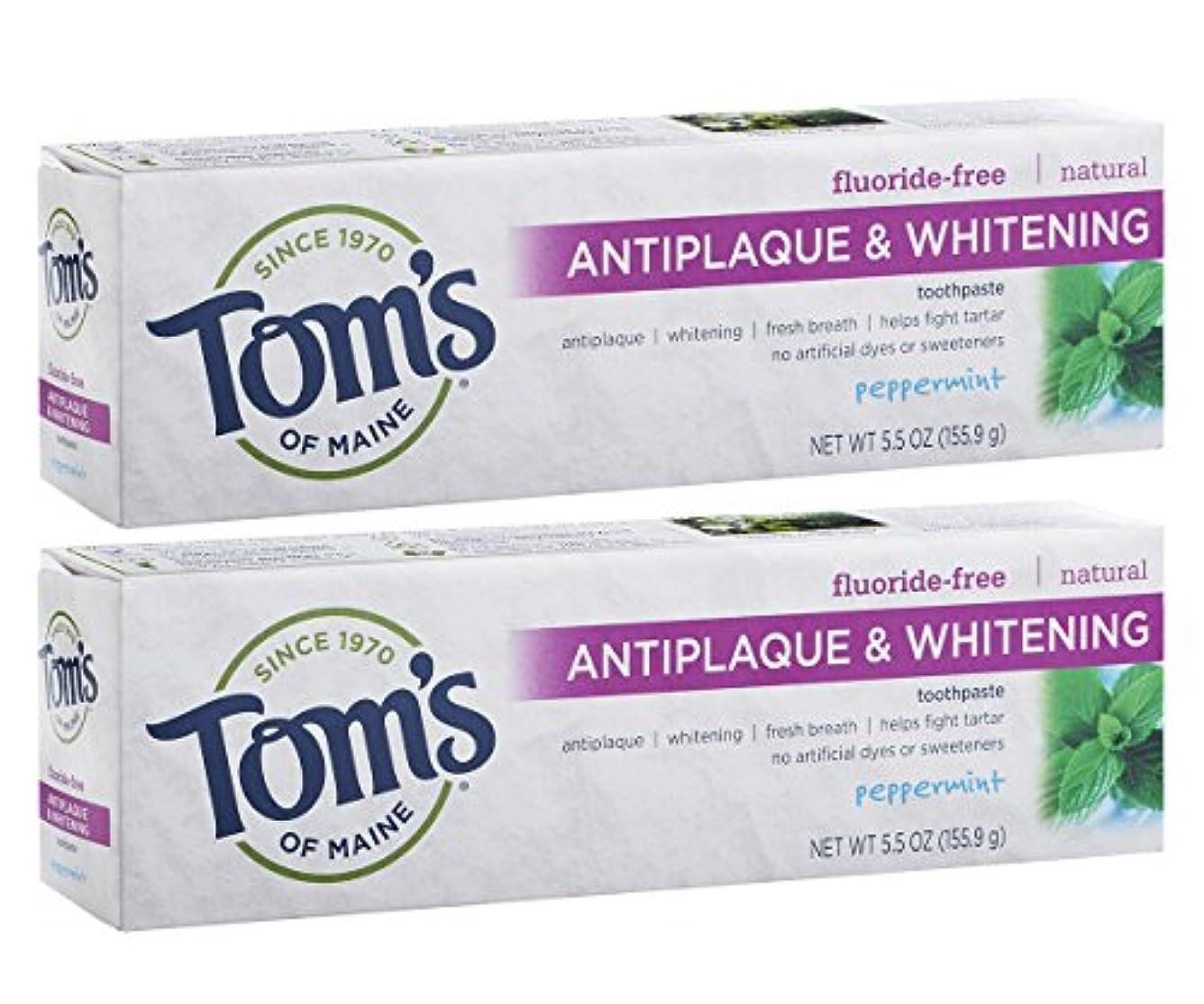タッチ銅手伝うTom's of Maine Antiplaque And Whitening Fluoride-Free Toothpaste, Peppermint, 5.5-Ounce by Tom's of Maine