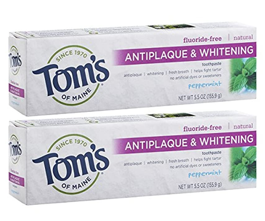 Tom's of Maine Antiplaque And Whitening Fluoride-Free Toothpaste, Peppermint, 5.5-Ounce by Tom's of Maine