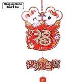 23 * 72cm Hanging Decoration - Furry Zodiac Mouse Fortune Bag (Zhao Cai Jin Bao)