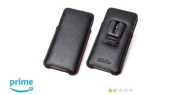 abf1e73dec Amazon | PDAIR ラグジュアリーレザーケース for iPhone 8 Plus/iPhone 7 Plus  ベルトクリップ付バーティカルポーチタイプ(ブラック/レッドステッチ) ...