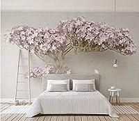 Minyose カスタム3D壁紙ファッションラベンダー3Dワン開花ツリー現代のテレビの背景の壁紙壁画-400Cmx280Cm
