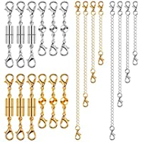 Anezus 20Pcs Necklace Clasp Magnetic Jewelry Clasps with Jewelry Extenders for Necklace, Bracelet and Jewelry Making (Silver & Gold, Assorted Sizes)