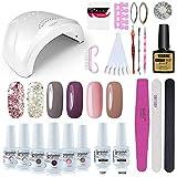 Vishine Gel Nail Polish Starter Kit - 48W LED Lamp 6 Color & Base Top Coat Set, Manicure Tools Popular Nail Art Designs #05