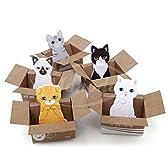 【ノーブランド品】かわいい 箱入り 猫 - ひろって ニャンコ 付箋 - 5種類 x 30枚 豪華150枚 癒しの ネコ 付箋 メモ マーカー