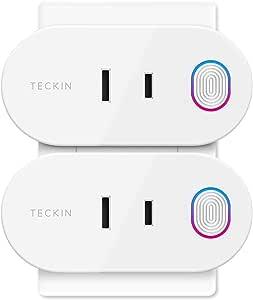 Wi-Fi スマートプラグ TECKIN スマートコンセント インテリジェント ソケット エネルギー モニタリング Amazon Alexa Google Homeに対応 遠隔操作 音声コントロール ハブが必要なし Wi-Fi 2.4GHzで動作 2個セット 壁のコンセントに向け